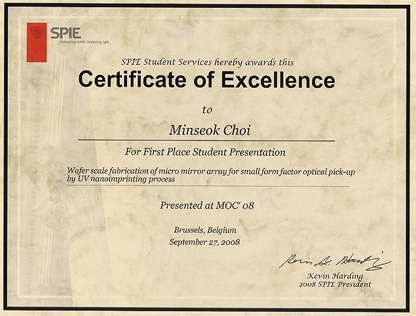 first place award certificate